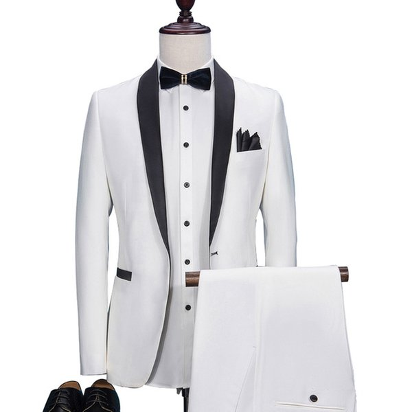 2018 New High Quality White Men Suits For Wedding Party Groom Tuxedos Suits for Men Best Blazer(Jacket+Pant)