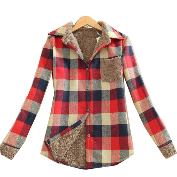 2018 New Women's Fashionable Winter Shirts for Casual warm cardigan women's shirt with long sleeves insulated fleece plaid blouse Tops corr