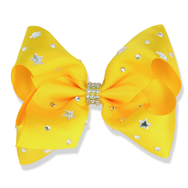 14pcs/lot 5 inch Hair Bows for Girls with Clips Kids Hair Accessories Rhinestone Grosgrain Ribbon Hairpins Star Pattern Headwear