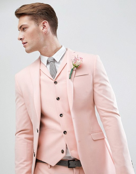 Pearl Pink Wedding Men se adapta a 3 piezas (chaqueta + pantalón + chaleco + corbata) Moda Terno Masculino Novio Blazer 500
