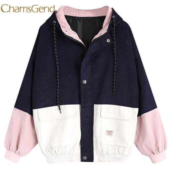Chamsgend jacket women winter Corduroy Patchwork Windbreaker Long Sleeve Oversize Zipper Overcoat Outerwear l1222 S1017