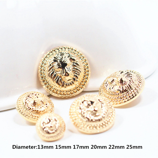 gold lion diameter of 13mm-25mm gold metal buttons, clothing accessories, shirt, coat brand buttons,w8 10PCS