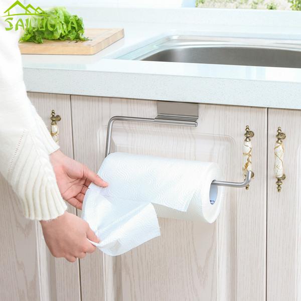 Stainless Steel Kitchen Roll Holder Toilet Paper Holder Hanging Organizer Shelf Towel Rack Back Door Cupboard