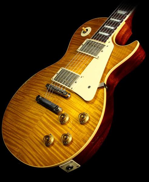 Custom Shop Ace Frehley 1959Reissue Âgés Signé guitare électrique sale citron Frehley Burst