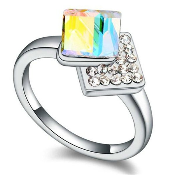 Fashion Jewelry Crystal from Swarovski Elements High Quality Rings For Women Wedding And Engagement Stylish White Gold Plated 17118