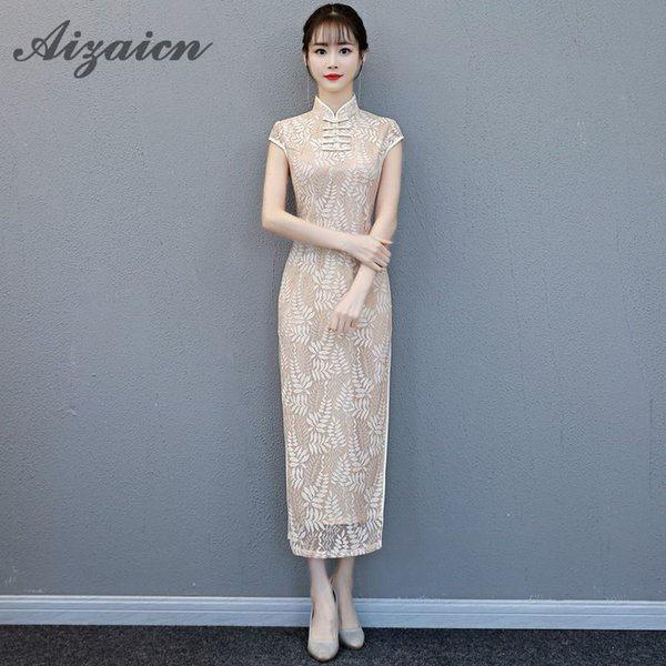 2018 Summer Women Lace Dress Sexy Female Mandarin Collar Cheongsam China  Style Flower Qipao Long Traditional Evening Gown 77db4e160428