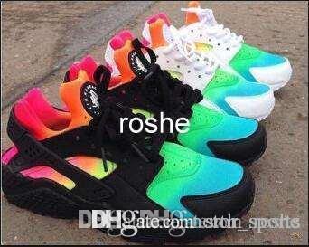 2018 nuovo stile huaraches bianco nero arcobaleno scarpe da corsa per uomo donna, moda huaraches scarpe da ginnastica atletico scarpe da ginnastica eur taglia 36-45
