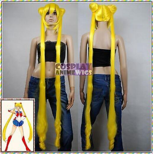 Free shipping>>>1.4m Heat Resistant Sailor Moon Sailor Crystal Yellow Wigs