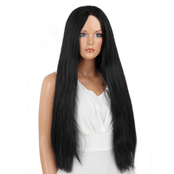 Оптовая дешевые 180% плотность Kanekalon синтетические волосы 26 дюймов длинные кружева фронт парик Яки прямые 1b черные парики для афроамериканских женщин
