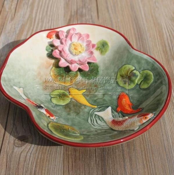 Cerámica creativa goldfish fruta Dulces Almacenamiento plato Postre Snack Ensalada plato decoración del hogar decoración de la boda artesanía estatuilla
