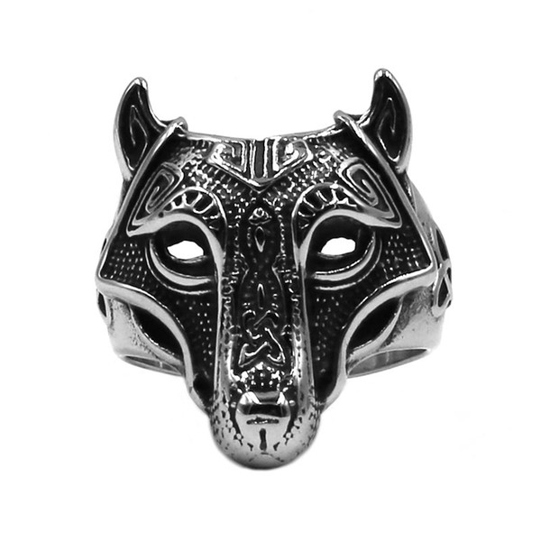 Free shipping! Norse Viking Wolf Arrow Ring Celtic Knot Stainless Steel Jewelry Nordic Rune Odin Symbol Amulet Biker Men Ring Wholesale 792B