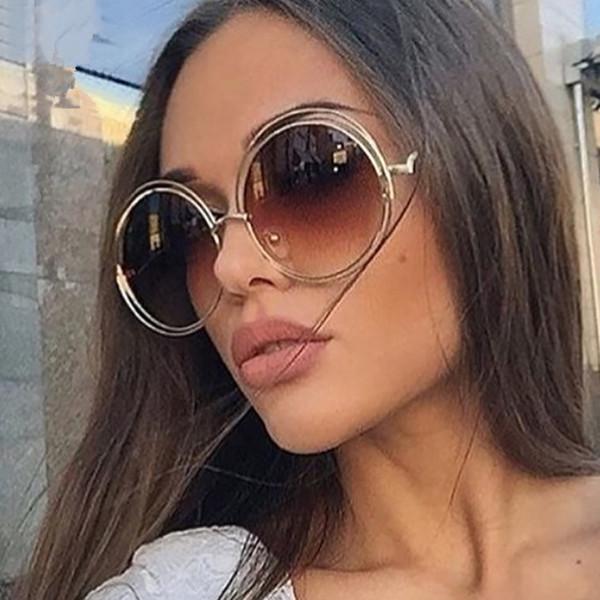 Luxus Runde Sonnenbrille Frauen Markendesigner 2018 Vintage Retro Übergroßen Sonnenbrille Weibliche Sonnenbrille Für Frauen Sonnenbrille Spiegel