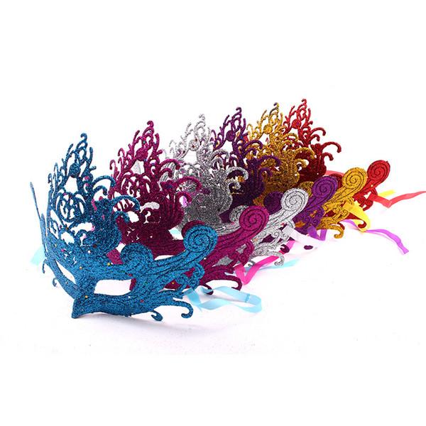Crown Form Erwachsene Maske Gold Pulver Partei Liefert Palstic Aushöhlen Design Pailletten Masken Top Qualität 1 5xd B