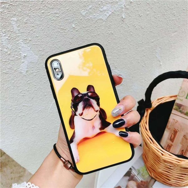 three colours hot sell For Apple iPhone X 6 7 8 Plus Cool Branded Dogs Design Glass Case Cover Coque