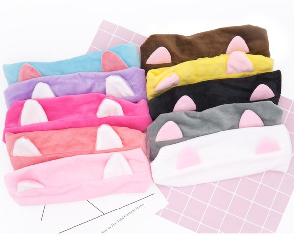 Lady Makeup Tool Headband Simple Fashion Multi Color Lovely Cat Ears Hair Band Free Shipping wen7083