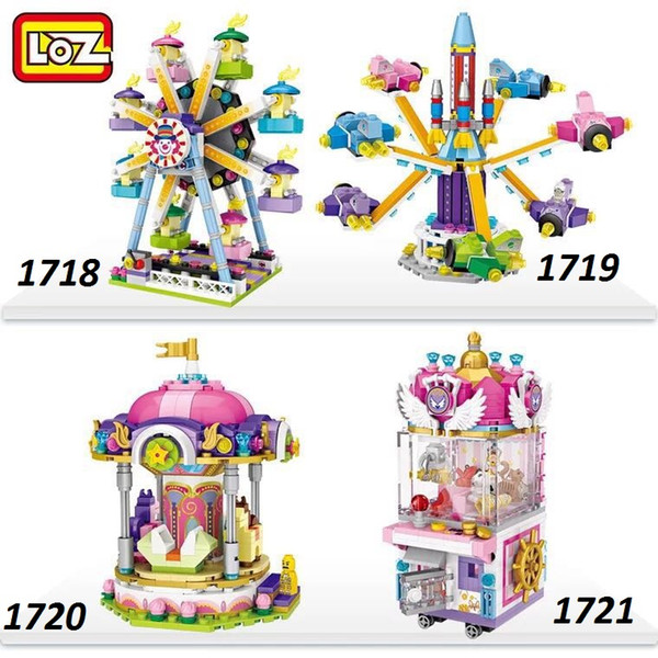 LOZ mini block Playground Series Building Blocks Pirate Ship Ferris Wheel Rotary aircraft/toy for Kids as Christmas Gift