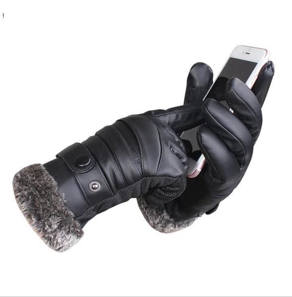 Guanto touch screen da uomo Winter Warm Leather Driving thickness Guanto moto full touch con touch screen completo LJJK1123