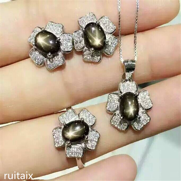 KJJEAXCMY boutique jewels 925 Pure silver inlay natural star sapphire alloy necklace + pendant + ring female orchid set