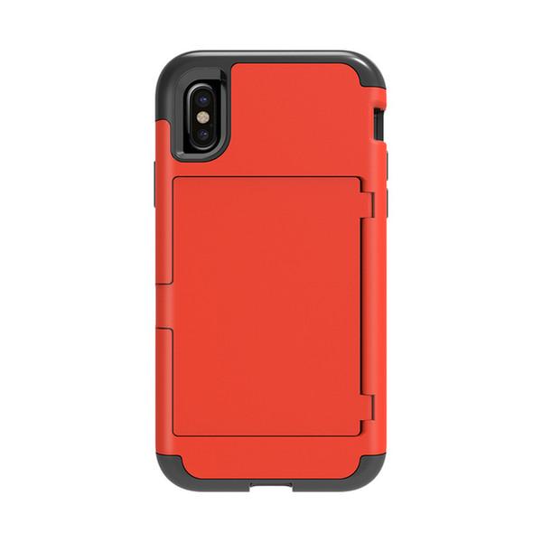 Neue iphone xs versteckt zurück spiegel karte rutsche brieftasche kreditkartensteckplatz pc fall iphone xr dual schicht tpu rüstung stoßfest rückseitige abdeckung für iphone5