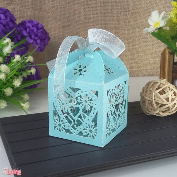 50pcs Laser Cutting Heart-shaped Pattern Candy Box Party Wedding Decoration Candy Boxes Christmas Gift Candy Box 6ZT51