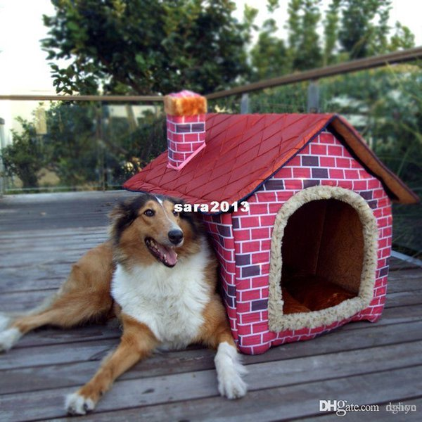 Shipping Free--Pet Dog House Large /Dog Bed Cat Bed Soft -pink Brick Wall Style Pet House Large/Dog Bed/large dog kennel