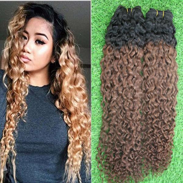 Ombre Brezilyalı Sapıkça Kıvırcık Saç Paketler Örgü İnsan Saç Uzantıları 1B / 6 Remy Ombre Saç Demetleri 200g 2 adet