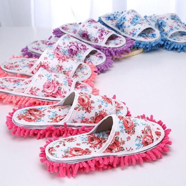 Pantofole salviette in ciniglia Floral Women Shoe Magic Clean Cloth Mops Strumenti per la pulizia del pavimento con suole lavabili 4 colori YW939