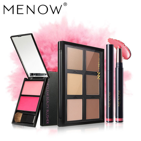 MENOW Brand Make up set 6 color Concealer Face Modified Contour Powder Plate Highlight shadow Blush Lip gloss kit drop ship $
