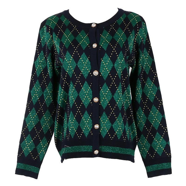 2018 New Plaid Knitwear Coat Jumper Cardigan Female Autumn Knit Sweater Women Luxury Runway Design Single Breasted Color Block