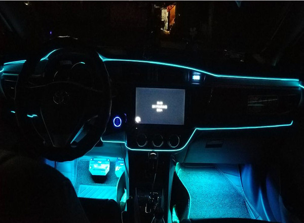 EL Band Rand Auto LED kaltes Licht in der Atmosphäre Lampe Clip Typ Licht Atmosphäre, um den dekorativen Licht Gürtel 3 Meter zu ändern