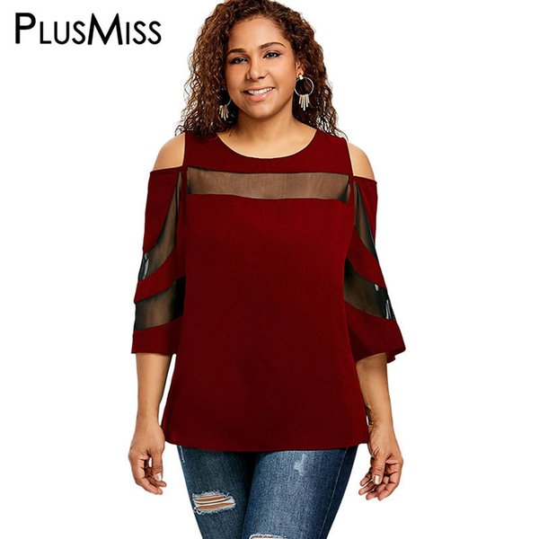 PlusMiss Plus Size 5XL 4XL Sexy Open Shoulder See Through Tops Tee Summer 2018 Women Mesh T-shirts Loose T Shirt Big Size Black