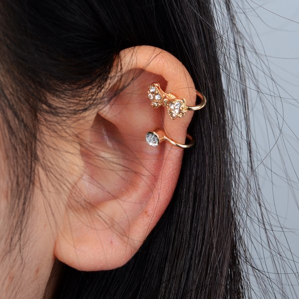 New 1Pc Crystal Rhinestone Bow Clip Earrings No Piercing Gold Silver Color Ear Cuff Warp Jewelry For Women Gifts