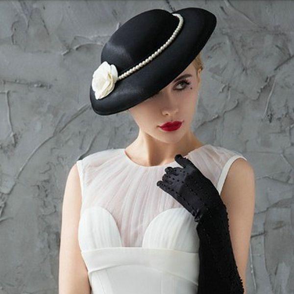 European bride retro round top hat headwear small fragrance pearl camellia black white hair accessories