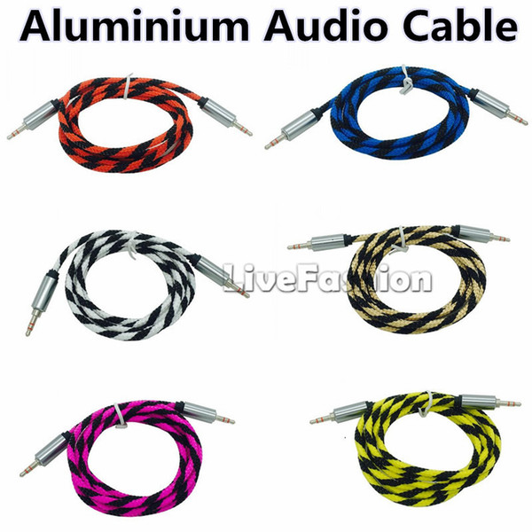 1M 3FT Aluminium Braided 3.5mm Stereo Auxiliary Audio Cable Car Extension AUX Cord Jack Male To Male for iphone Samsung MP3 Speaker Computer