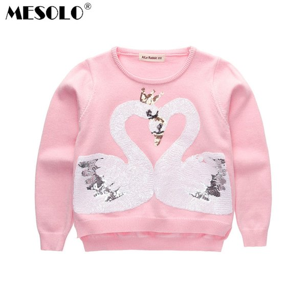 MESOLO 2017 autumn and winter new girls, Korean version sequins, swan sweater, children's round neck sweater.