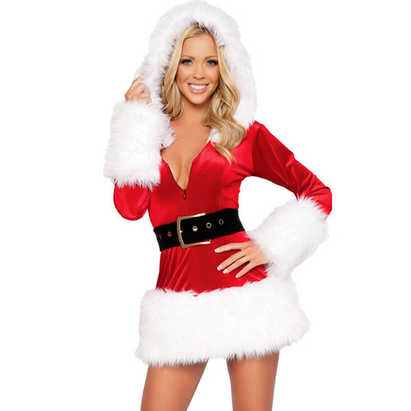 Long Sleeve Hooded Plush Christmas Stage Outfit Red Cute Christmas Dress Costumes Miss Santa Claus Costume Sweet Santa Dress Uniform