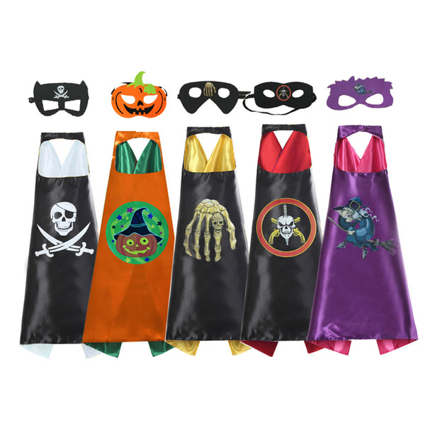 top popular 5 Design Mask Sets Children L70*W70CM Double Side Cape And Mask Sets Cape Costume Kids Halloween Party Costumes For Christmas Easter Cosplay 2021