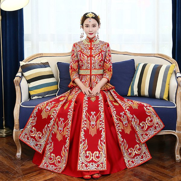 Chinese Bride Wedding Dress Gown Women Qipao Handmade Embroidery Vintage Red Marriage Gift Cheongsam Toast Clothing Suit