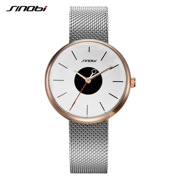 SINOBI Marca de Lujo Superior Ultrafino Relojes de Las Mujeres Astilla Ocasional Relojes de pulsera de Malla Creativa Correa Reloj Reloj Montre Femme Relojes Y1890304