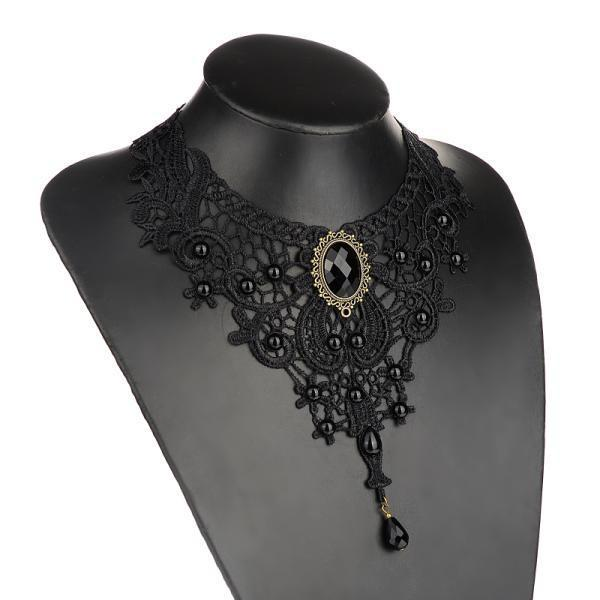 Vintage Statement Choker Crystal Black Hollow Out Flower Necklace Gothic Lolita Lace Collar for Women Trendy Gril Gift Clothing Accessories