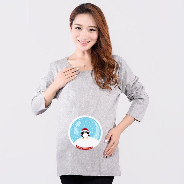 Смешные материнства рубашка хлопок беременность тройники пингвины топ длинный рукав майка для беременных женщин материнства одежды плюс размер новый