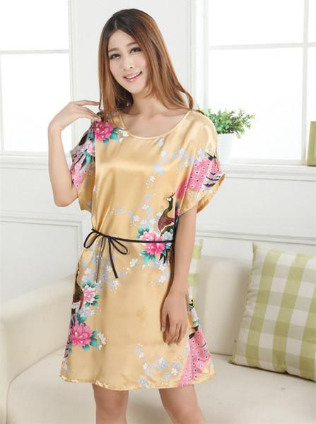 Moda Altın Rahat Kadın Elbisesi Gecelik Pijama Mujer Baskılı Tasarım Kadınlar Rayon Gecelik Yaz Robe Banyo Elbisesi Zh01F
