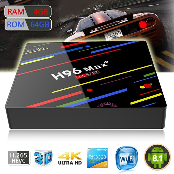 H96 Max Plus Android 8.1 TV Box 4GB 32/64GB RK3328 64 bit with Dual Wifi 4.1 Bluetooth Streaming Media Player