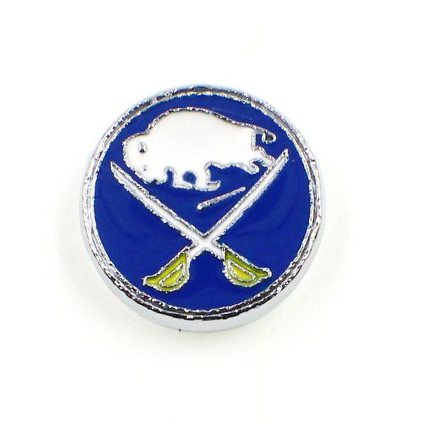 Hot Emaille Buffalo Sabres Dia-Charms 8mm Metall Hockey Team Slide Baumeln Charme Für Halskette Armband Schlüsselbund Hundehalsband Schmuckherstellung