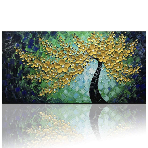Flores de Ouro verde Arte Da Parede Na Lona Abstrata Pinturas A Óleo Texturizado Arte Moderna Pintado À Mão Imagem Quadrada