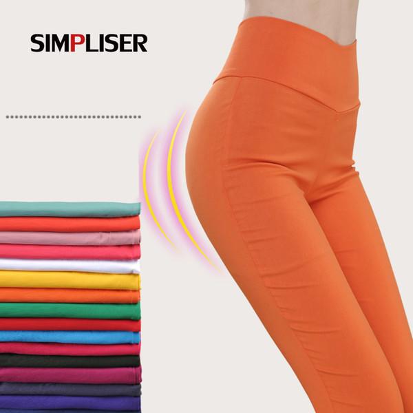SIMPLISER Stretch Leggings For Women High Waist 20 Colors Women Pencil Pants White Black Femme Trousers Big Size Ladies PantalonY1882504