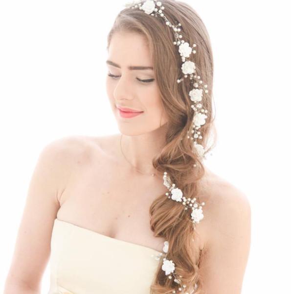 New lengthened pearl handmade headwear, soft glass, headwear, wedding gown, wedding dress accessories