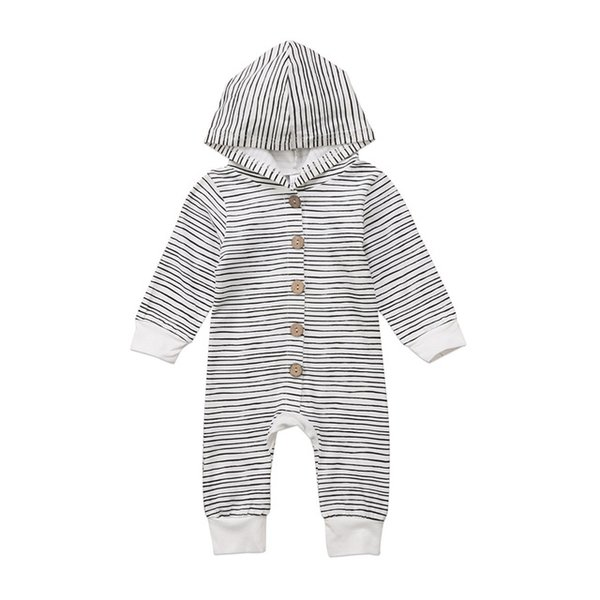 top popular 2018 Brand New Toddler Newborn Baby Boy Girl Warm Infant Romper Striped Jumpsuit Hooded Clothes Long Sleeve Outfit 2020