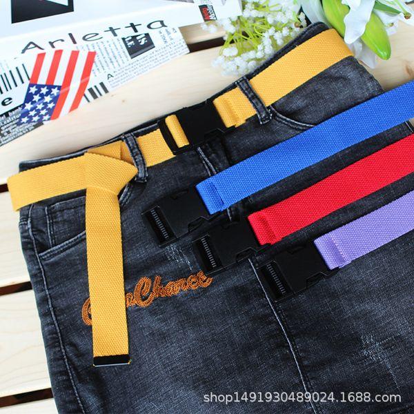 Unisex Pianura Cinturino Cinturino in tela casual Cintura in metallo Uomo Donna Jeans Jeans Cinture Colori caramelle Top quality 120cm
