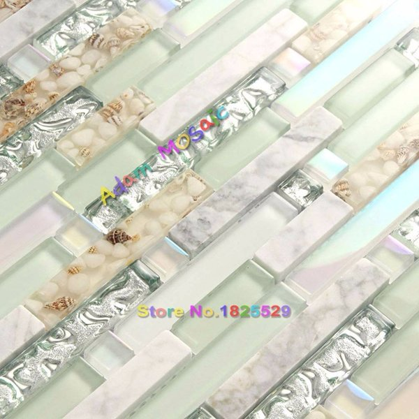 Großhandel Strand Stil Wand Fliesen Mosaik Küche Backsplash Fliesen Grün  Badezimmer Silber Glas Conch Stein Weiß Marmor Schillernden Mosaik Kunst  Von ...